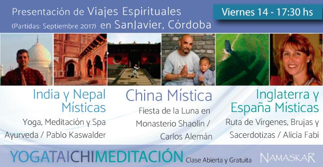 Presentación en San Javier, Córdoba: Viajes Espirituales a India, Nepal, China, España e Inglaterra Místicas.
